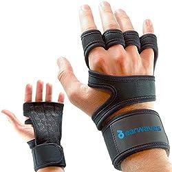 Earwaves - Calleras Crossfit para hombre y mujer con muñequeras incorporadas. Ideales para Crossfit, Calistenia, Halterofilia, Cross-Training, Gimnasia, etc. Máxima protección con un agarre superior. (L)