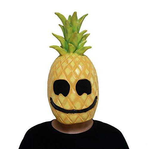 Jannyshop Ananas Maske Latex Voll Kopfbedeckung Party Cosplay Maskerade Masken für Kinder Erwachsene