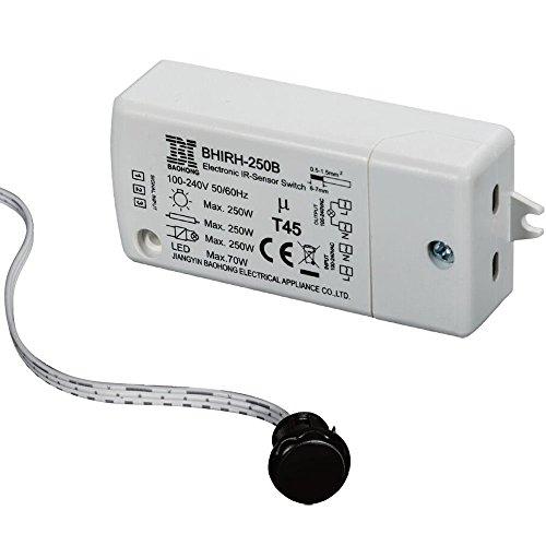 Infrarot Sensor Schalter IR Sensor-HoneyFly BHIRH-250B Sensor Schalter, 250W (max. 70W für LEDs), 100-240V 6.56ft Kabel, 5-10CM Detektionsbereich CE Verwendet in Schränken Innen Öffnen Schließen (Motion Sensor Intertek)