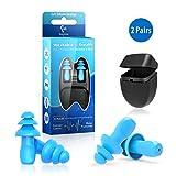 Bouchons d'oreille pour la natation-2 Paires réducteurs de bruit réutilisables en silicone imperméable pour la natation, la douche, le travail, le sommeil, les études et autres événements bruyants