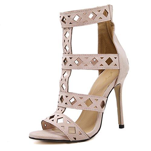 GS~LY Regali Festa della mamma In pelle scamosciata sandali cavo europeo e sandali americano apricot