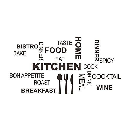 Lumanuby 1 Stück Küche Aufkleber aus PVC Worte von Essen und Trinken mit Geschirr abnehmbare Wanddekoration für Küche / Wohnzimmer Mode-Stil des Hauses Zubehör schwarz, 30 * 58.com (Wort Essen)