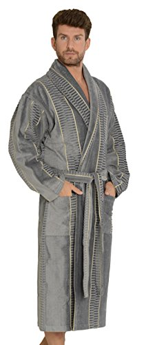 FOREX Lingerie kuscheliger und hochwertiger Frottee-Bademantel Herren-Mantel aus 100% Baumwolle (L, Grau breit gestreift) (Robe Baumwolle Gestreiften)