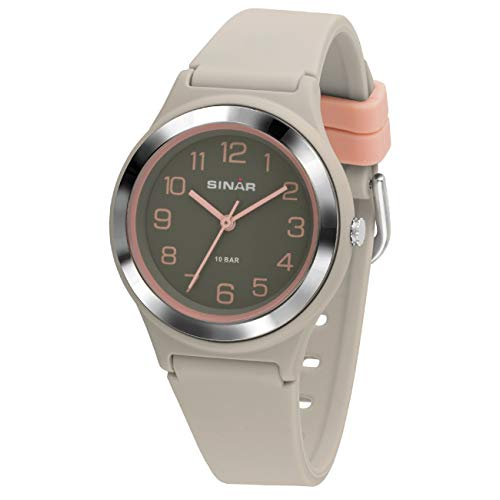 SINAR Mädchen-Armbanduhr Sportuhr Fitness analog Quarz 10 Bar wasserdicht grau rosa XB-48-5