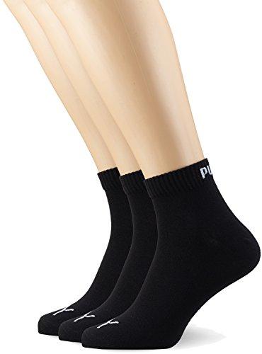 PUMA Plain 3P Quarter Socke, Schwarz (Black), 35-38