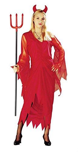 Foxxeo Teufel Teufelkostüm rot Halloween Kleid für Damen Größe XXL