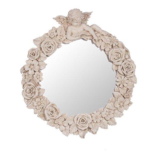 Salle de bains Européenne- Miroir Ange Résine miroir sculpté miroir décoratif mural américaine créative Accueil Accueil pendentif décoratif mural couleur ivoire miroir ( : )