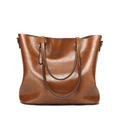 Mefly L'olio nuovo sacchetto di cera borsetta moda Borsa marrone chiaro Light brown