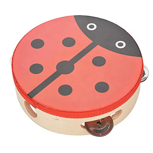 RiToEasysports Tambourine Wood Tambourines�for�Kids15cm Wooden Handheld Tambourine Hand Drum Bell Musical Percussion Instrument Toy Gift (1#)
