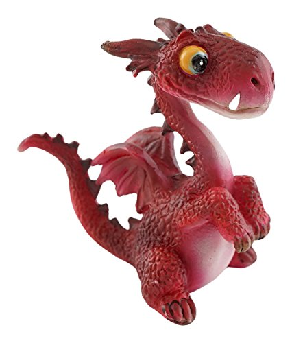 Top Collection Miniatur-Fairy Garden und Terrarium Mini Dragon Statue, rot