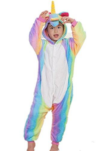 Kenmont Déguisement Combinaison Licorne Pyjama Grenouillère Enfants Animal Pyjamas Costume à capuche Halloween Carnaval Noël Fête Tenue (Taille 125(Hauteur 140-150cm), Rainbow)