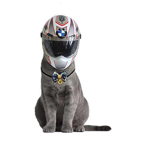 WLXW Mini Elmetto per Cuccioli di Cane E Gatto, Casco per Protezione della Testa Piccolo Berretto da Moto Mini Casco per Animali da Compagnia con Campana per Cravatta da Uomo,01,S