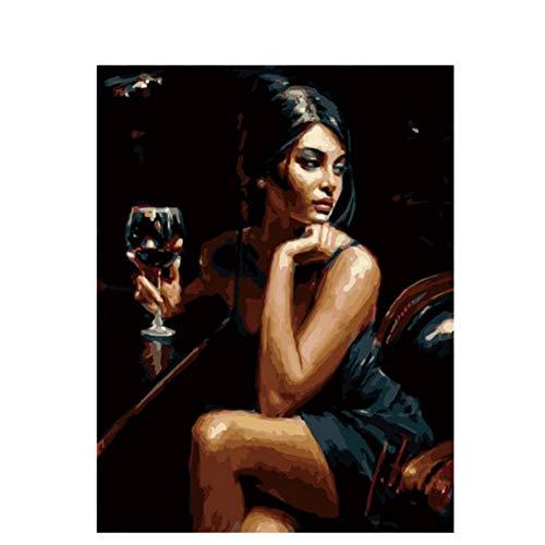 Waofe Frau Trinkt Diy Malen Nach Zahlen Abstrakte Belle Mädchen -Ölgemälde Auf LeinwandAcrylwand -Kunst -Geschenk No Frame -