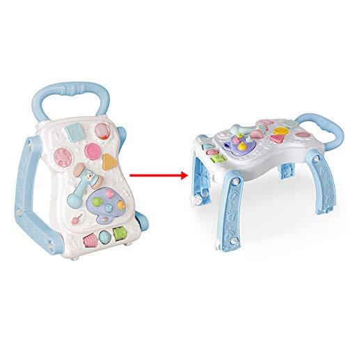 Sipobuy Baby First Steps Activité Walker & Table de jeu 2 Chariot d'apprentissage Sit-to-Stand 2 IN 1 Jouets Enfants Enfants Garçons, Bleu