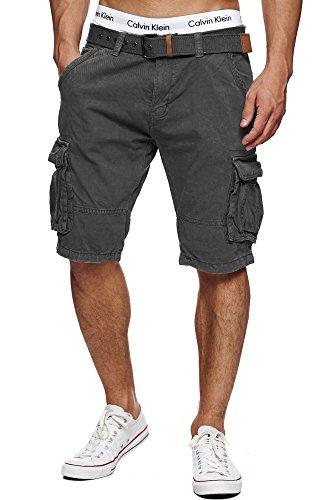 Indicode Herren Monroe Cargo ZA Cargo Shorts Bermuda Kurze Hose mit Gürtel Iron L -