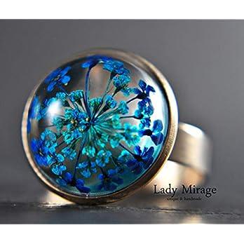 Edelstahl-Ring mit echten blauen Blüten Roségold Verstellbar Geschenk Tolle Geschenkidee für Frauen Jahrestag Geburtstag