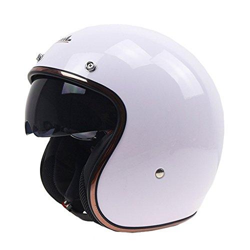 MagiDeal Casco Aperto Retrò Con Parasole Visiera 3/4 Protezione Testa Moto Cafe Racer - Bianca M