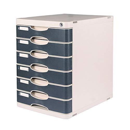 Wwwwwxw Datei-Kabinett-Datei-Schränke 6 Schichten abschließbare Desktop-Kunststoff Schublade Data Office Aufbewahrungsbox -
