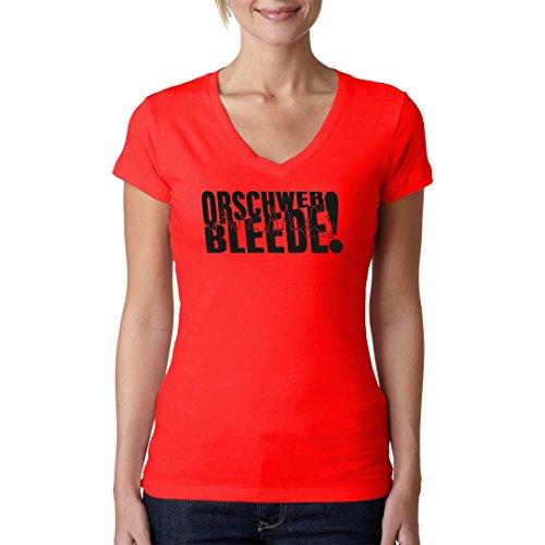 DDR Ossi Girlie V-Neck Shirt - Uff säggsch orschwer bleede by Im-Shirt Rot