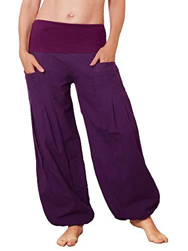 Leucht-Welten Damen Pumphose aus Baumwolle Pocket-Hose p31 Lila Einheitsgröße -