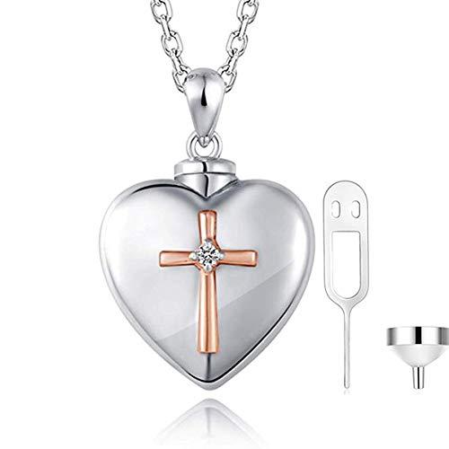 BRG315 Einäscherung Andenken Halskette Für Asche,Titan Stahl '' Immer in Meinem Herzen '' Urne Andenken Halskette Für Geliebte, Gedenken An Einen Geliebten Menschen, Haustier (Knochen-talisman)
