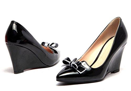 8bc4ca723255b3 ... YE Damen Bequeme Elegant High Heels Spitze Lack Pumps mit Keilabsatz  und Schleife 7cm Absatz Schuhe