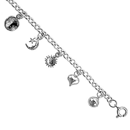 Revoni Sterling Silver Charm Bracelet w/ Hearts , Star and Crescent Moon