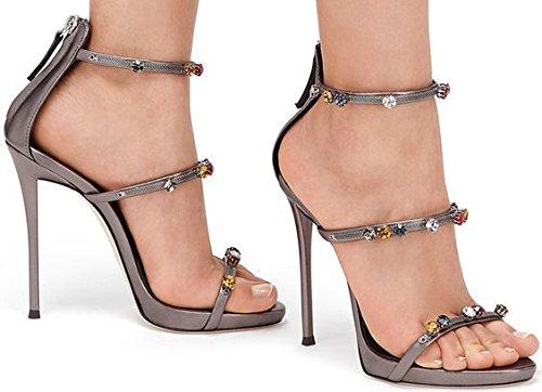 Saltos Rhinestone Simples Rhinestone Heel Sandália-high Heels Bronze