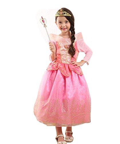 Fanryn Kleine Mädchen Prinzessin Kostüm Kleid Puffärmeln,Cosplay Halloween Geburtstag Party Kleid Fancy Kleid Mädchen Kinder Kleid Halloween (Kostüm Pilot Mädchen Kleines)