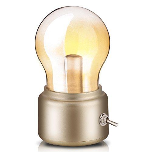 Retro Birne Lampe USB wiederaufladbare LED Nachtlicht Mini Nachttisch Schreibtischlampe Energiesparende 0026 elegante für Schlafzimmer Nachttisch Beleuchtung(Gold) -