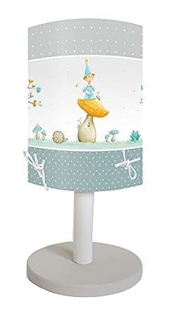 Titoutam T0091 Célestin Lampe avec Pied Bois + Abat-Jour PVC