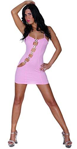 Gogo-Kleid mit Strass-Schnallen verziert Einheitsgröße (32-36), rosa