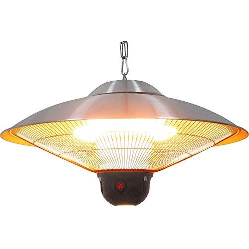 Elektrischer Heizstrahler Heizer Wärmestrahler Ø 585 x 300 mm 2,1 kW 230V hängend mit LED-Beleuchtung aus Edelstahl drei Heizstufen inklusive Fernbedienung
