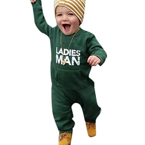 URSING Kinder Kleinkind Verriegelung Strampler Baby Jungen Super süße Buchstabe gedruckt O-Ausschnitt Soft Jumpsuit Outfits Kleidung Jogginganzug übergang Overall Klassischer Romper (80cm, Grün)