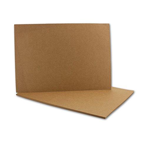 Kraftpapier-Karten in Braun | 50 Stück | Blanko Einladungs-Karten Zum Selbstgestalten & Basteln | bedruckbare Post-Karten in Din A6 Format | 285 g/m² g/qm | Exklusive Grußkarten für Besondere Anlässe