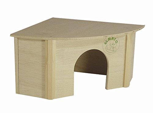 Elmato 10030 - Caseta de esquina para cobayas (madera natural, 23 x 23 x 13 cm)