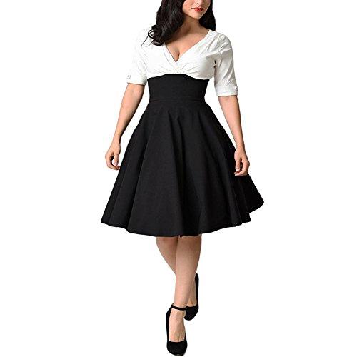 iBaste Damen Übergröße Kleid V-Ausschnitt Rockabilly Kleid Festlich Kleid Partykleid Cocktailkleid große größen-3XL Plus Size Rockabilly
