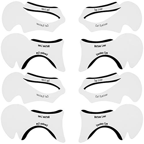 com-four® 8-teiliges Set mit Eyeliner Schablonen - Make-Up Hilfe für den perfekten Lidstrich - Augen Schablone für Cat Line und Smokey Eyes -