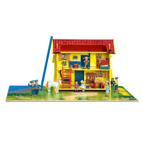 Pippi Langstrumpf 44.3753.00 - Haus aus Holz mit Spielunterlage, Circa 83 x 66 x 37 cm