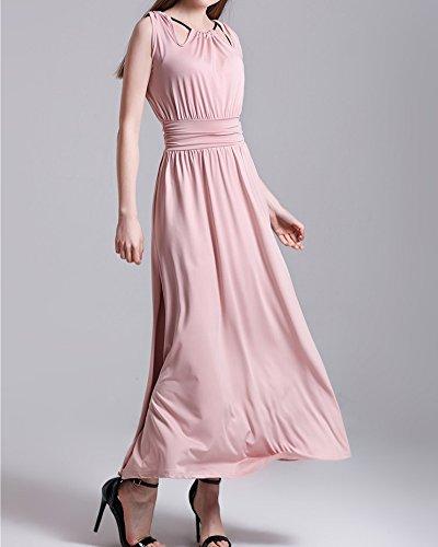 Femme Robe Maxi Longue Sans Manche Plage Bohême Swing Robes pink