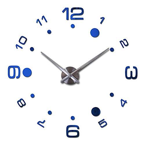 Da.Wa 1X Azul Reloj de Pared 3D Silencioso DIY de Material 80cm-125cm Efecto de Espejo para la decoración...