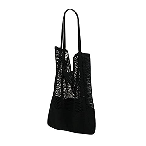 ESAILQ Filles Casual Mode Sac shopping épaule Creux de maillage Shopper Sac de plage Sacs de courses (Noir)