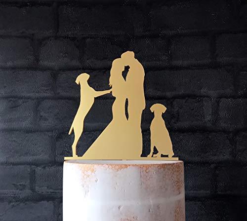 Andrea1Oliver Zwei Weimaraner Hunde Silhouette Hochzeitstorte Topper -