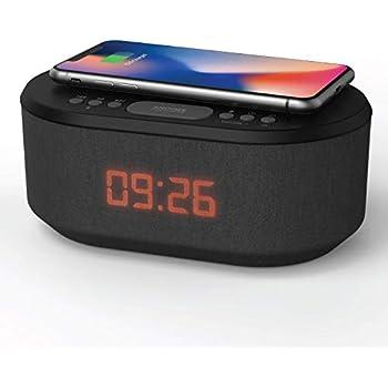 TOOGOO Réveil en Bois avec Coussin De Charge sans Fil Qi Compatible avec pour Iphone Samsung