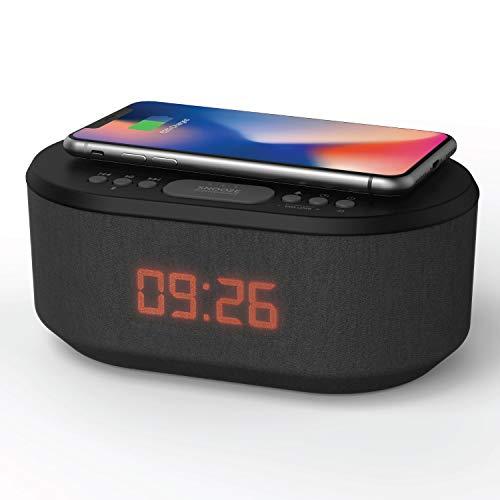 Radiowecker Digital mit USB-Ladegerät, Bluetooth-Lautsprecher, kabelloses Laden und dimmbares LED-Display - Netzbetrieb (Schwarz)