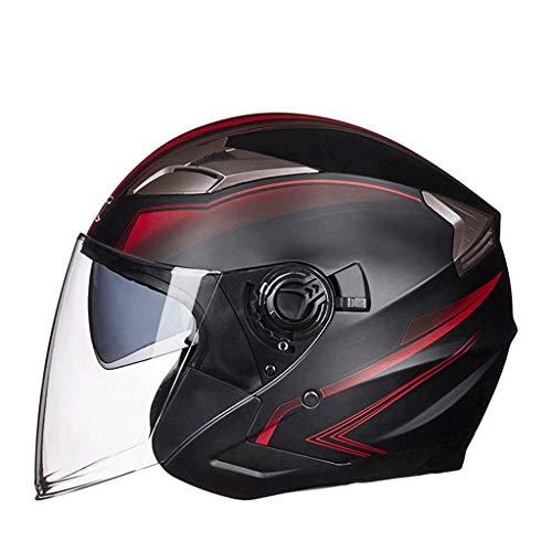 Sooiy Casco da Motociclista Elettrico Maschio Femmina Semi-Coperto Inverno Caldo Stagione Batteria Auto Casco Auto elettrica Casco Moto,Rosso,XL