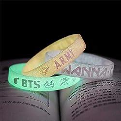DJHFJ Pulsera Fluorescente BTS Bangtan Boy BTS Rap Monster BTS Jimin BTS Jin BTS Suga BTS Jungkook BTS Koya BTS V BTS J Hope Wanna One Ropa para los fanáticos de BTS