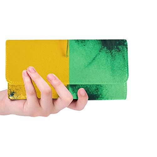 Einzigartige benutzerdefinierte kreative Brennnessel Blatt Layout grünes Pulver Frauen Trifold Wallet Lange Geldbörse Kreditkarteninhaber Fall Handtasche -