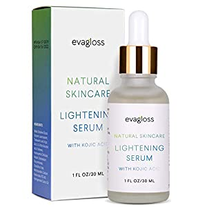Evagloss Skin Lightening Serum with Kojic Acid - Skin Whitening & Brightening Beauty Care Cream For Body Face Neck Bikini Sensitive Areas & All Skin Types - Dark Spot Corrector by Evagloss