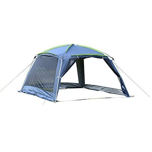 Outsunny Carpa Tipo Avancé Plegable para Camping Azul Oscuro Tela Oxford 210D 365x365x220cm